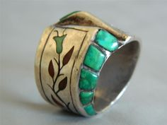 Old Navajo signed Harry Spencer Sterling Silver Inlaid Ring