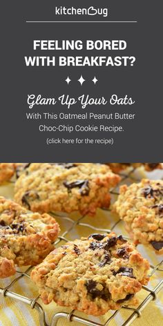 Bored with breakfast? Using oats in a treat like chocolate chip cookies is a great way to get you oatmeal and switch breakfast up a little!