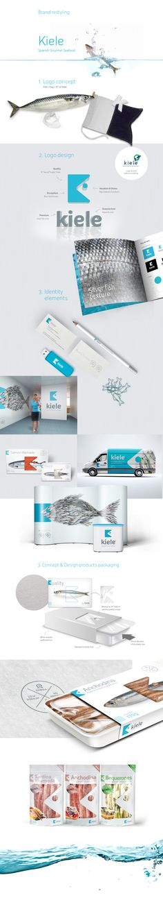 Restyling of Kiele Brand & Products Packaging design. Kiele is a Spanish seafood company that offers fresh fish and prepared Premium. Herring, sardines, salmon and authentic flavors of local and seasonal produce. The best of the sea into dry land, Kiele d…