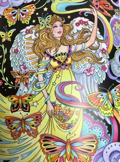 Beautiful Angels Coloring Book published by Creative Haven and illustrated by Marjorie Sarnat features angels from whimsical to traditional Fairy Coloring, Adult Coloring, Coloring Pages, Creative Haven Coloring Books, Mermaid Pictures, Fantasy Art Women, Demon Art, Color Pencil Art, Fairy Art