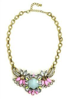DaisyGem   Pink Blue Mint Green Jeweled Gold Rhinestone Pendant Drop Statement Necklace