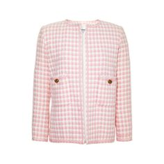 Vintage Chanel Chanel Pink And White Boucle Jacket from What Goes... ($1,850) ❤ liked on Polyvore featuring outerwear, jackets, chanel, blazer, suits, chanel jacket, patch jacket, pocket jacket, button jacket y collarless jacket