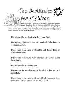 beatitudes in words for young children