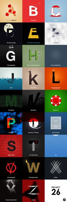 An Illustrated Alphabet Of Famous Movies - DesignTAXI.com