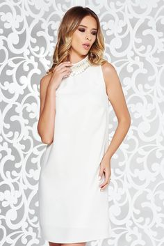 StarShinerS white elegant flared dress with inside lining with small beads embellished details, cut back, embellished accessories, small beads embellished details, inside lining, easy cut, sleeveless