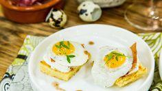 Sunny Quail Eggs on Brioche Squares with Goat Cheese and Crispy Prosciutto  3/10