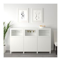 IKEA - BESTÅ, Storage combination with doors, white Selsviken, Glassvik high-gloss/white frosted glass, You can choose to use either the soft-closing or push-open function. Glass doors keep your finest items free from dust but still visible. Buffet Ikea, Ikea Family, Ikea Furniture, Furniture Buyers, Furniture Stores, Furniture Outlet, Discount Furniture, Glass Shelves, Interior Accessories