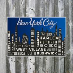 New York Skyline Art Print. NYC Typography. Quote Poster Print. City Map Print.  Night Time - 12 x 18. $30.00, via Etsy.