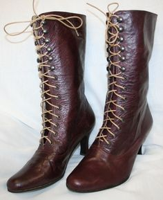 Victorian burgundy Boots Customised,2 inch / 5 cm High Heels,on SALE size 9 US/ 40 european, ORDER your size