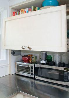 appliance garage :: Linden Ave. home renovation - traditional - living room - chicago - Rebekah Zaveloff | KitchenLab