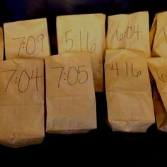 My surprise for my husband- The first anniversary gift is paper- each paper bag has a time written on it that represents a date of a special memory from the last year.  Inside each bag is a little note and a gift that represents that date and memory and my husband  is to open each bag at the designated time.