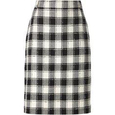 Pierre Cardin Vintage Plaid Skirt ($102) ❤ liked on Polyvore featuring skirts, bottoms, pencil skirts, jupes, faldas, black, high-waisted skirts, wool skirt, high waist knee length pencil skirt and pencil skirt