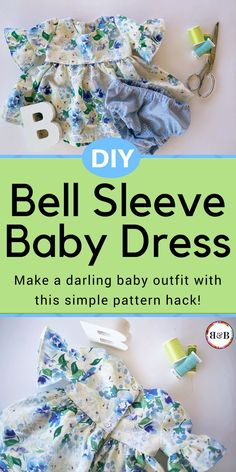 Is someone you know expecting a sweet baby girl? This simple pattern hack will show you how to make a darling on-trend bell sleeve baby dress DIY for the little bundle of joy! Take a break from pink by using this beautiful blue and green floral fabric; it's the perfect addition to any little girls' wardrobe. Read on for the ruffle sleeve tutorial and details on this gorgeous quilting cotton.