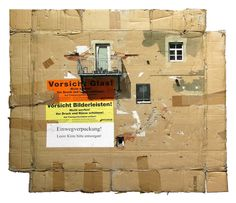 Cardboard City - by Evol . EVOL, the German artist who seems to have the ability to transform any landscape or found object into his own little world. Some of his best work involves found cardboard, where he takes… Photomontage, Mixed Media Collage, Collage Art, Collages, Richard Hamilton, Cardboard City, Cardboard Houses, Building Art, Stencil Painting
