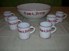Vintage Tom and Jerry Punch Bowl Set w/6 Mugs and Tom and Jerry Eggnog Recipe