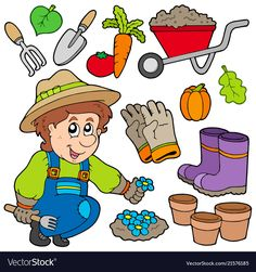 Gardener with various objects Stockfoto © clairev Preschool Art Activities, Preschool Rooms, Class Activities, Community Helpers Preschool, Classroom Fun, Good Parenting, Stories For Kids, Kids Education, Projects For Kids