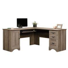 L Shaped Computer Desk in Salt Oak - 417586