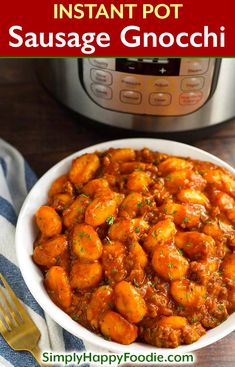 Instant Pot Sausage Gnocchi is a rich, hearty dish that has lots of flavor, and is so delicious, especially when you need a bowl of comfort food. This pressure cooker sausage and gnocchi is cooked in a tomato sauce with Italian spices, and is ready in und Instant Pot Pressure Cooker, Pressure Cooker Recipes, Slow Cooker, Sausage Recipes, Crockpot Recipes, Cooking Recipes, Dishes Recipes, Drink Recipes, Best Instant Pot Recipe