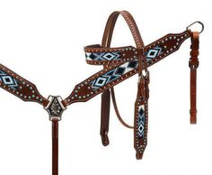 Showman TURQUOISE Beaded Inlay Headstall and Breast Collar Set! NEW HORSE TACK…