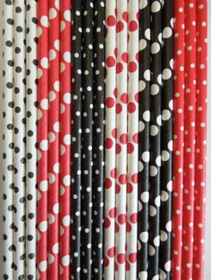 50 LADYBUG LADY BUG Theme Party Paper Straws by IvanasGiftsNThings, $5.99