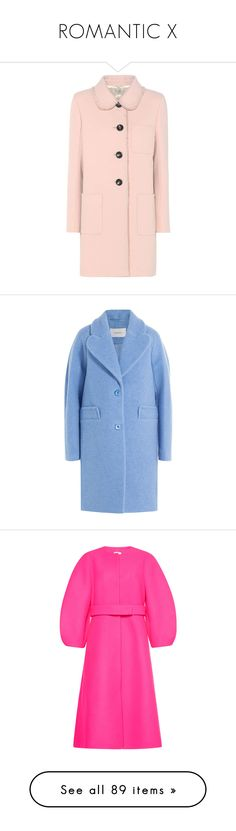 """ROMANTIC X"" by cutekawaiiandgoodlooking ❤ liked on Polyvore featuring outerwear, coats, leather-sleeve coats, miu miu, pink wool coat, wool coat, pink coat, blue, carven coat and long sleeve coat"
