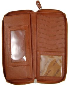MOGA Brand 'High Quality Ladies' Wallet style (Brown) - 94575. Made of ultra-high quality leather. Size 7.5'' L x 4.5'' W.