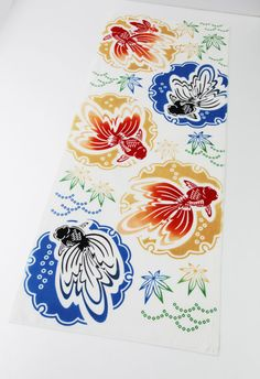 Japanese Tenugui gold fish fabric Japanese by japanmomijidesigns