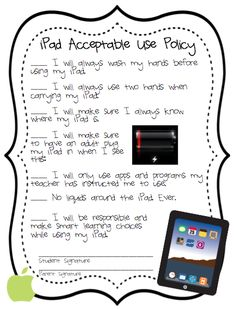 iPad Acceptable Use Policies for Kids...could tweak for NOOK Tablet