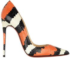 Christian Louboutin So Kate Striped Snakeskin Print Stiletto Pumps in orange, black and white