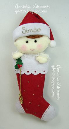 Baby boy First Xmas in stocking ornament in felt.NO pattern Christmas Topper, Felt Christmas Decorations, Felt Christmas Ornaments, Christmas Stockings, Diy Projects Handmade, Felt Gifts, Christmas Sewing, Felt Diy, Homemade Crafts