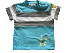 Maat 80 T-shirt Blauw met grijs/witte streep  Merk Noppies
