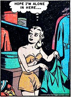 "Comic Girls Say.. ""Hope I'm alone in here "" #Vintage #Comic #PopArt"