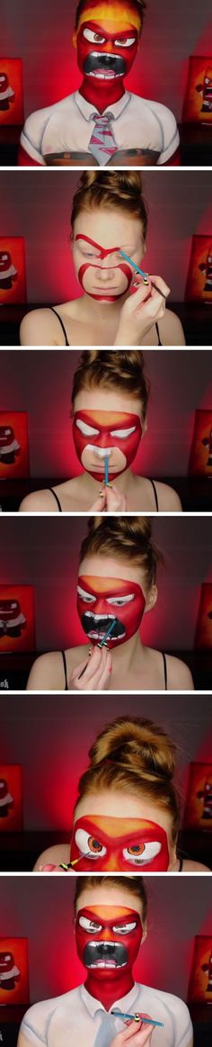 25+ FACE PAINT TECHNIQUES. Inside Out Anger Makeup Tutorial