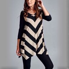 V-Stripe Tunic Brand new black and oat colored v-stripe tunic. Super comfy jersey material, 95% rayon, 5% spandex. Pairs great over leggings or jeans  Tops Tunics