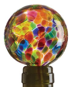 Take a look at this Festive Mulitcolor Calico Kitras Wine Stopper by Kitras Art Glass on #zulily today!