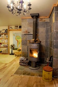 Image result for tiled wall behind wood stove