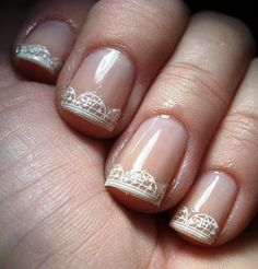 Easy and Beautiful Wedding Bridal Nail Art Design with Lace French Tips Decoration Stickers ♥ White Lace Decal For Nail Art and Design