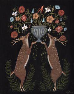 "by Kelly Louise Judd Deer Bouquet Gouache on paper, 12"" x 15"" 2013"