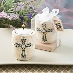 Cross Design Candle Tea Light Holder at Elegant Baby Favors. We're your number one source for christening favors and cross favors! Design Candle Holders, Candle Holders Wedding, Tealight Candle Holders, Tea Light Candles, Tea Lights, Candle Favors, Favours, Shops, Religious Gifts