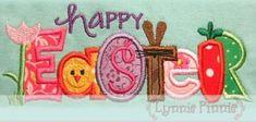 HAPPY EASTER Collage Word Applique 4x4 5x7 6x10 by LynniePinnie