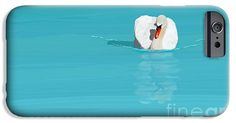 White swan blue lake iPhone 6 Case.  A white swan swimming on a blue lake. As it is swimming water ripples are formed around it's body. Stripes of different colored water are darker and lighter blue, turquoise and white. It looks like the middle of sunny day.  This is a digital oil painting.  Image by Jan Brons