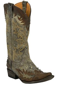 Stetson Ladies Betty Destroyed Chocolate Brown with Wingtip Pointed Toe Western Boot