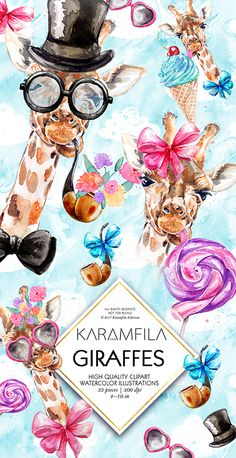 Watercolor giraffes clipart, Father's Day clip art with pipe, top hat, flowers, glasses, bow tie, ice-cream and lollipop, men's fashion illustrations.