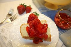 Homemade poundcake with fresh strawberry topping.