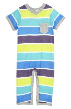 Striped Short Sleeve Playsuit. Cute colors.