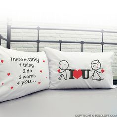 "Cute anniversary gift for him. Our his and hers ""3 Words for You"" couple pillowcase set is a richly romantic gift for you and your sweetheart. This cheerful pillowcase set is an endearing way to remind your sweethearts your love to them day after day. Cute Valentines Day Gifts, Christmas Gifts For Girlfriend, Birthday Gifts For Boyfriend, Boyfriend Gifts, Perfect Boyfriend, Boyfriend Girlfriend, Cute Anniversary Gifts, Romantic Anniversary, Wedding Anniversary"