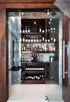 Contemporary Wine Cellar Design Ideas, Pictures, Remodel and Decor Home Wine Cellars, Wine Cellar Design, Wine Cellar Modern, Wine Design, Wine Cabinets, Wine Storage, Alcohol Storage, Storage Area, Storage Room