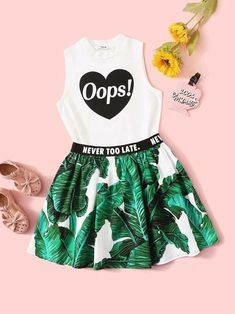 To find out about the Girls Letter Graphic Top & Lettering Tape Tropical Print Skirt Set at SHEIN, part of our latest Girls Two-piece Outfits ready to shop online today! Girls Summer Outfits, Cute Girl Outfits, Cute Casual Outfits, Cute Outfits For Kids, Outfits For Teens, Fall Outfits, Teen Outfits, Girls Fashion Clothes, Teen Fashion Outfits