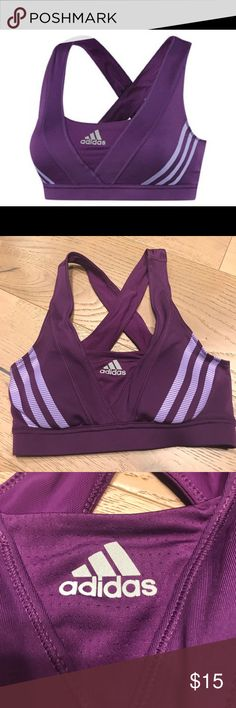 ADIDAS sports bra purple size: XS ADIDAS sports bra purple size: XS .  Purple sports bra straps x crossing back light purple lines design with Breast pads. Used but in great shape. adidas Tops Crop Tops