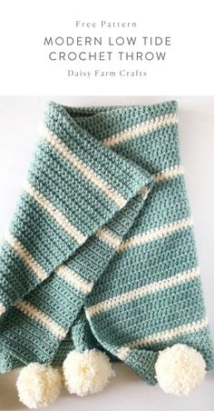 Crochet Blankets For Men Free Pattern - Modern Low Tide Crochet Throw Crochet Simple, Crochet Diy, Modern Crochet, Learn To Crochet, Crochet Crafts, Crochet Projects, Knitting Projects, Crochet Afghans, Crochet Blanket Patterns